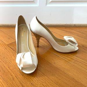 Kate Spade White Satin Heels size 8